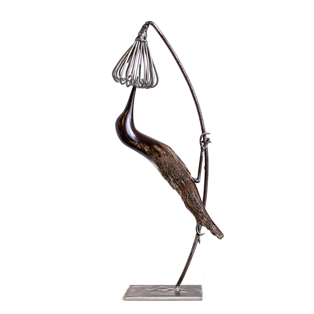 Bird on Flower - Iron Wood and Wire - Small