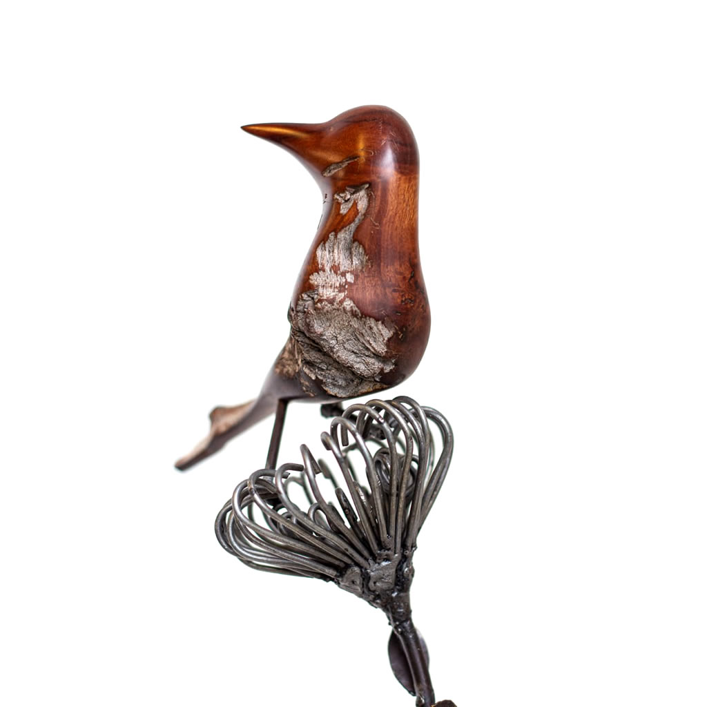 Bird on Protea - Mopane Wood and Wire - Small