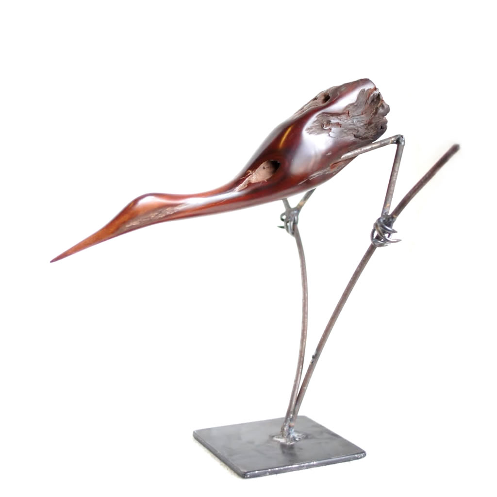 Bird on Grasses - Mopane Wood and Wire - Small
