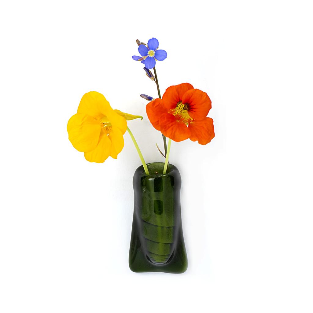 Fridge Magnet Vase - Green Glass