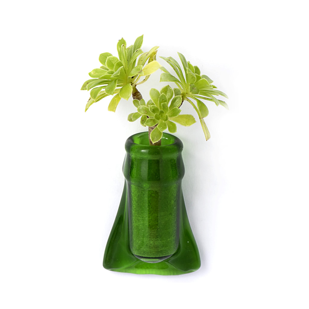 Fridge Magnet Vase - Green Flared Glass