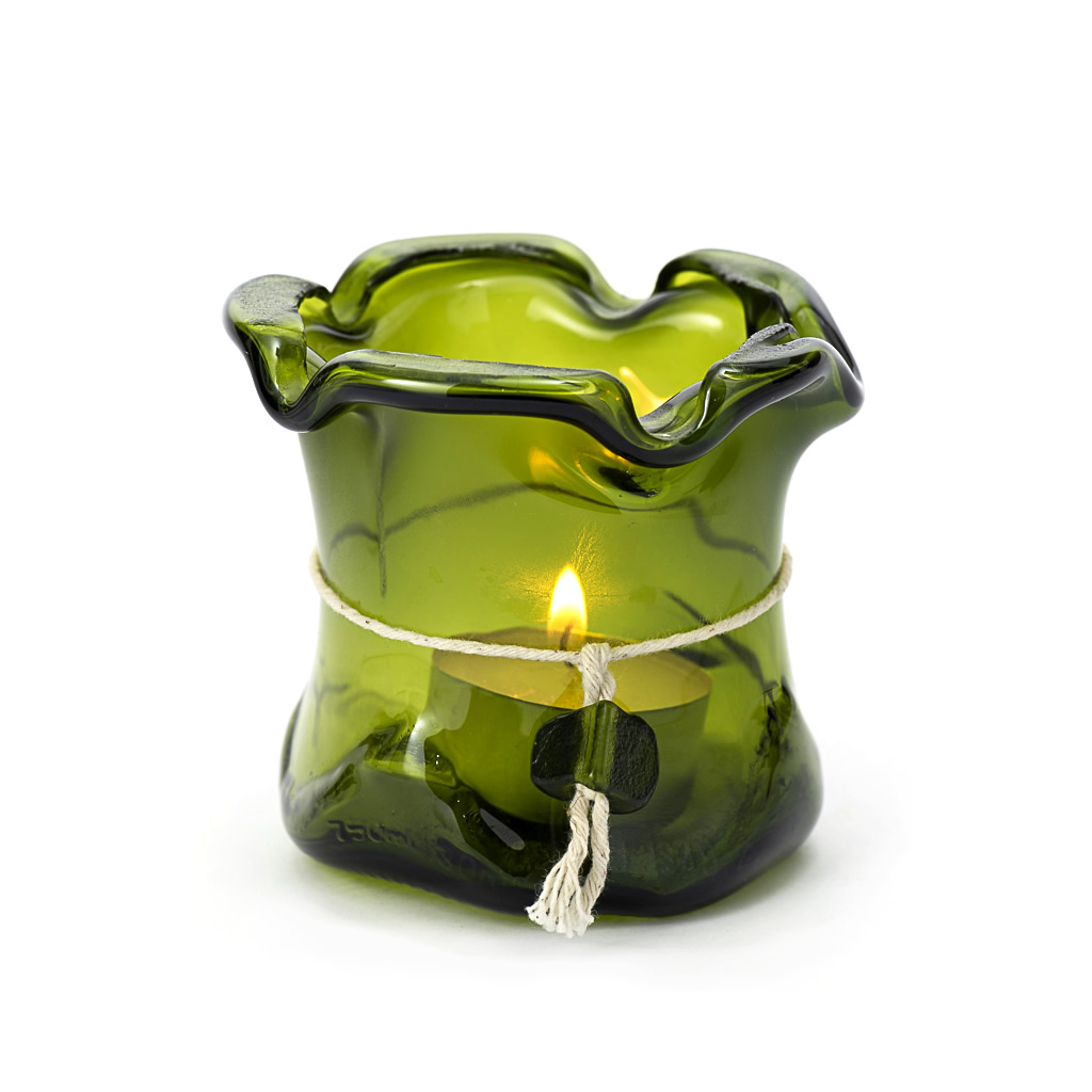 Candleholder/Vase - Recycled Glass - Green