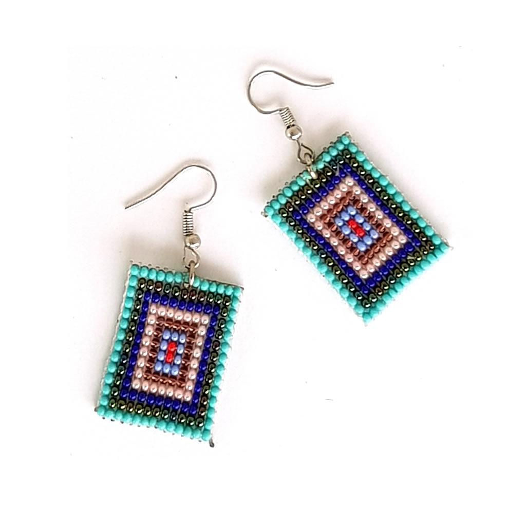 Earrings - Woven Bead - Square Blue