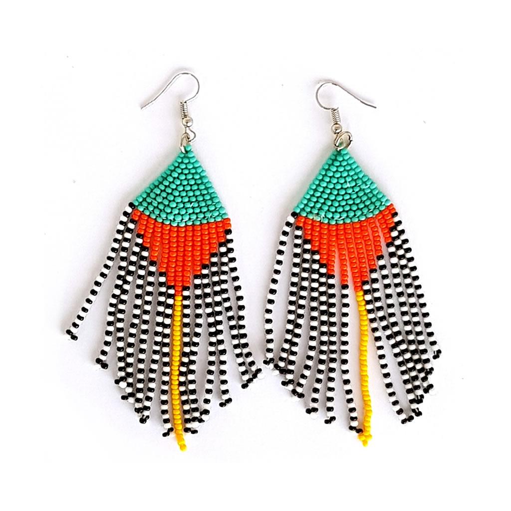 Earrings - Woven Bead - Tassles Turquoise Orange