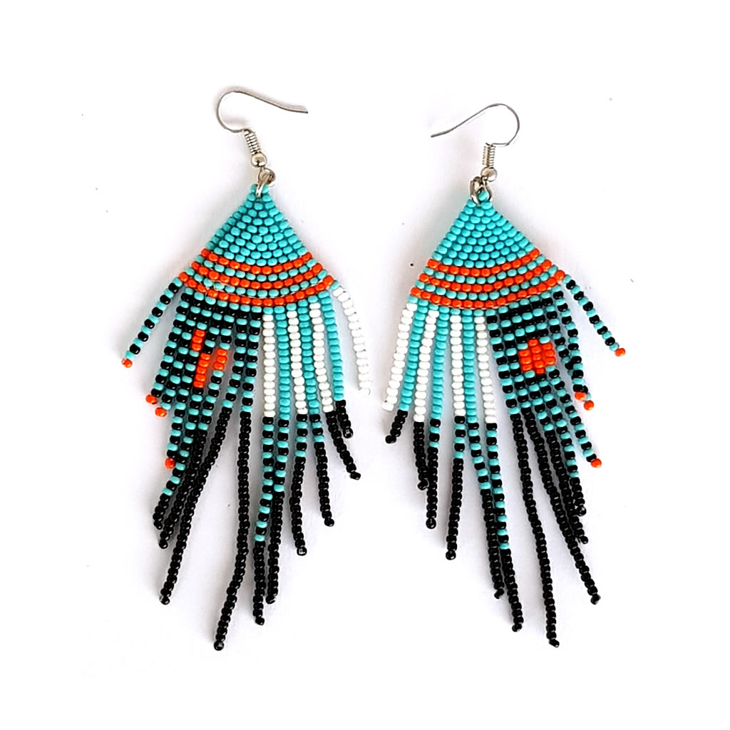 Earrings - Woven Bead - Tassles Turquoise Black