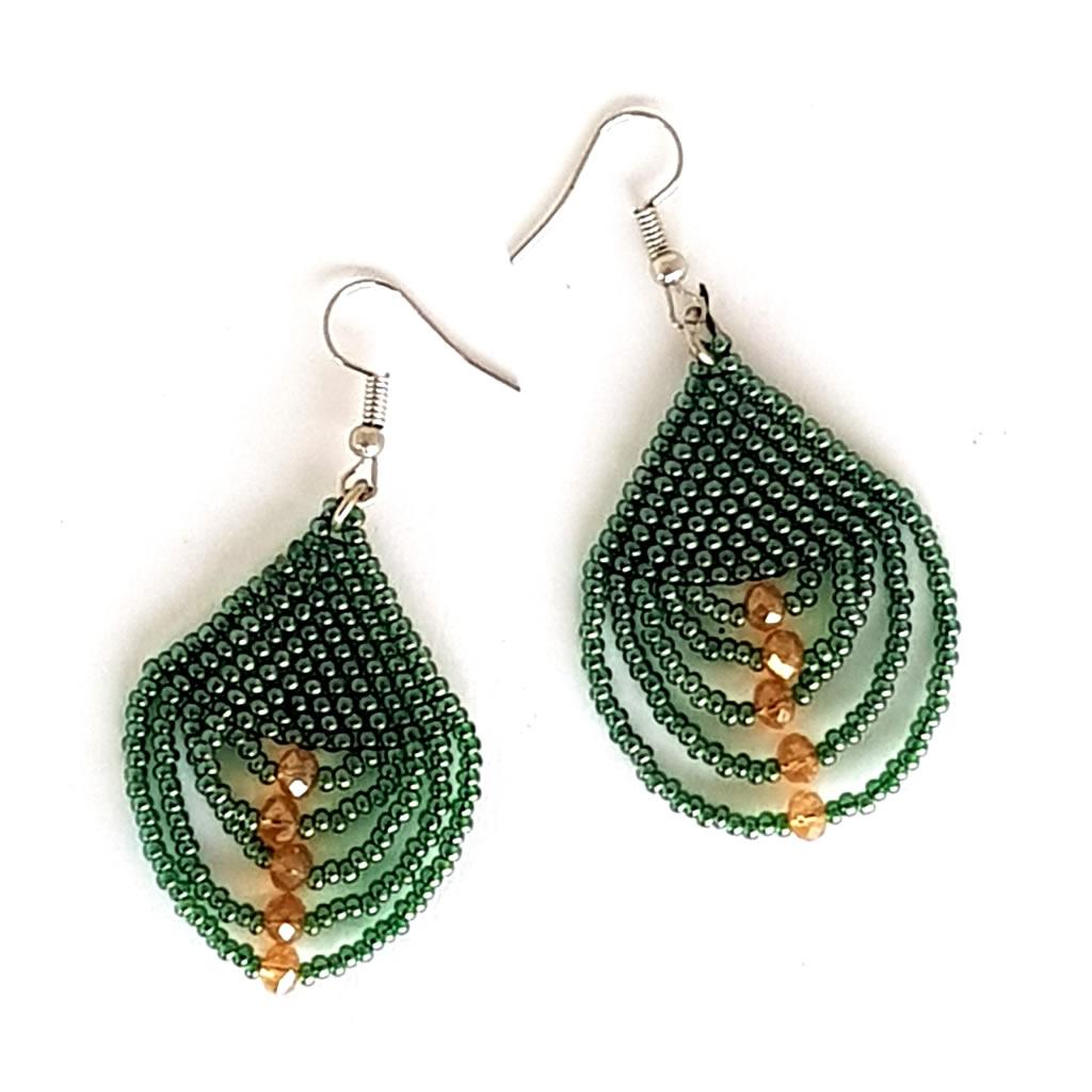 Earrings - Woven Bead - Teardrop Green