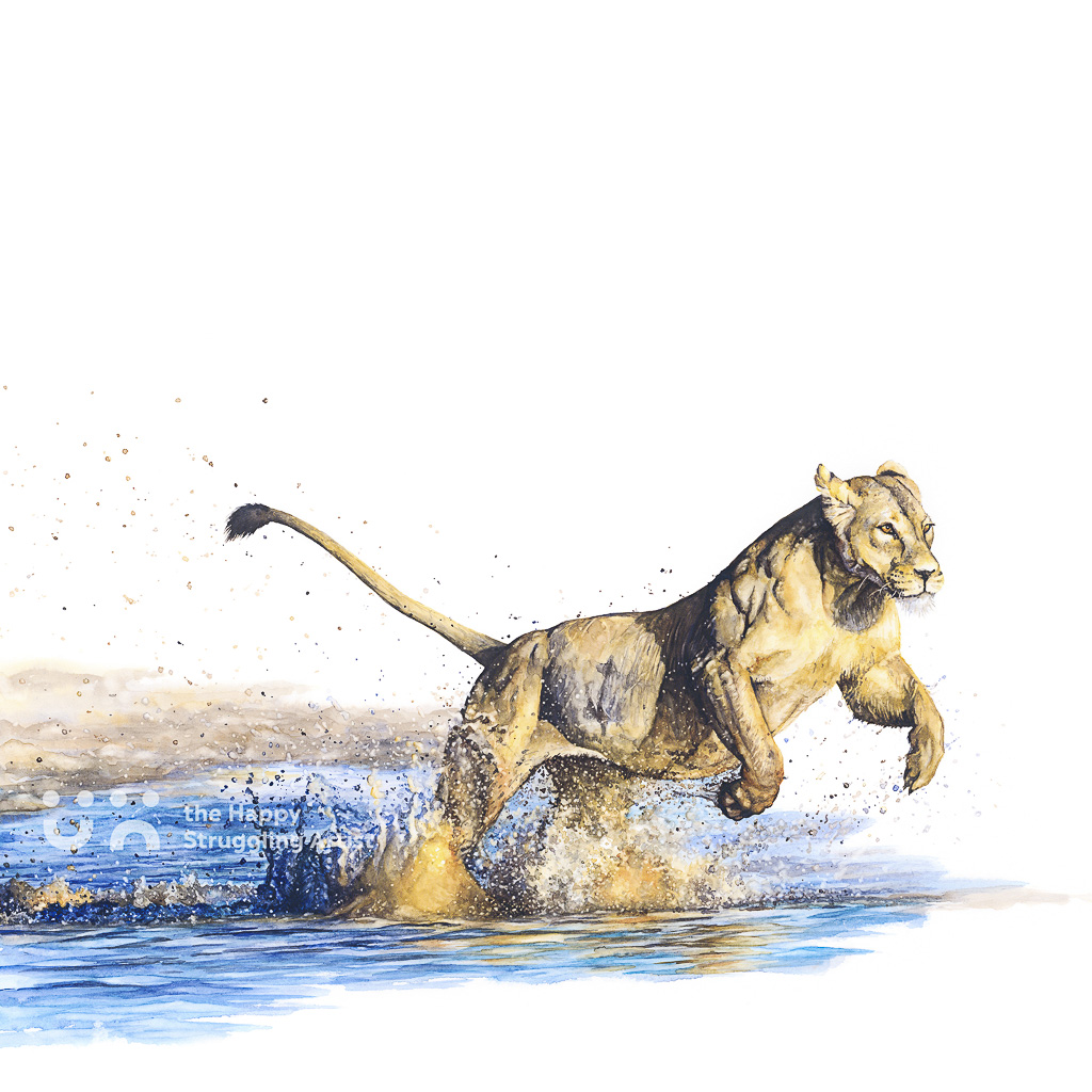 Fine Art Print - Splash - Lioness