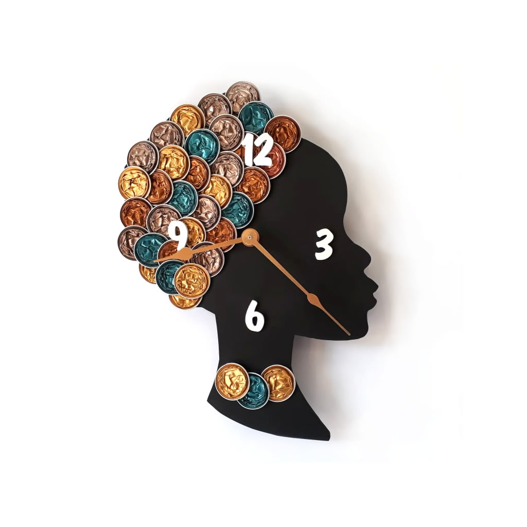 Clock - Wall Mounted - Gold Coffee Pods