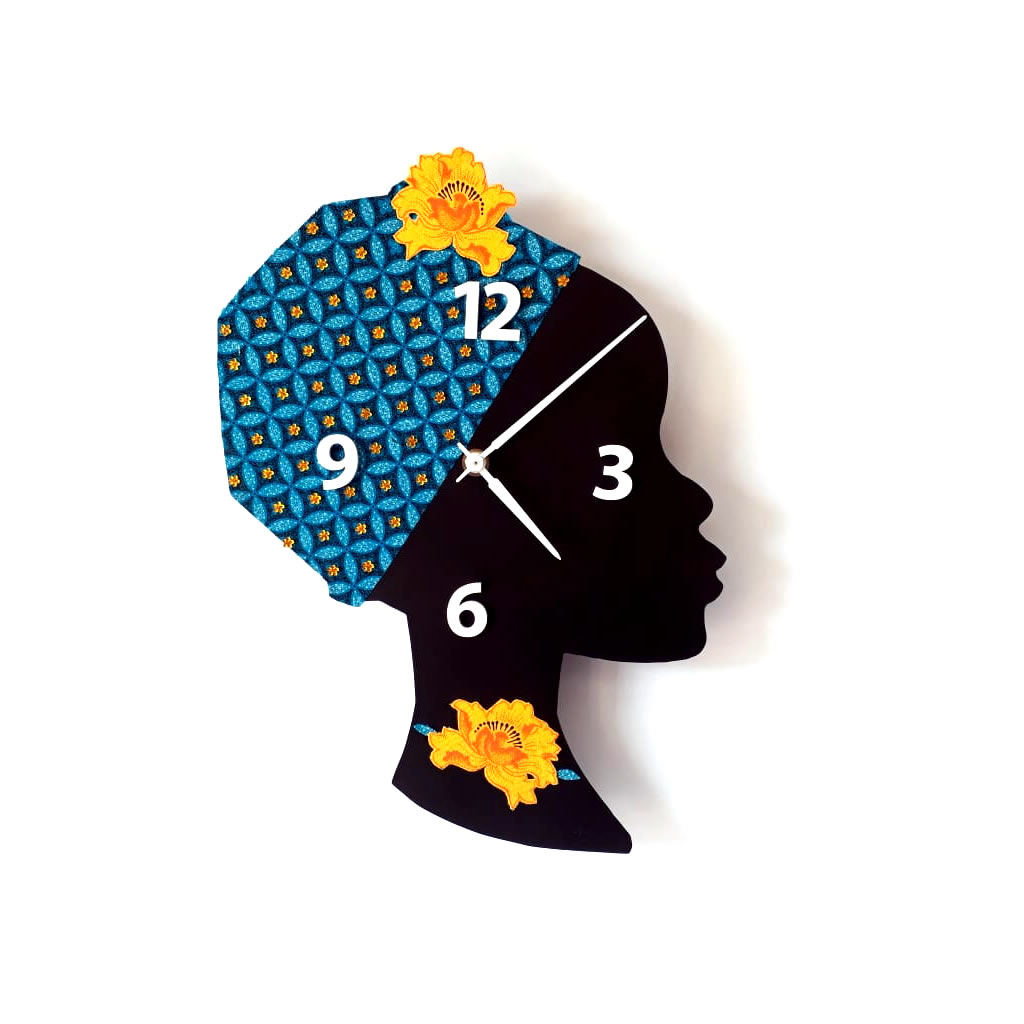 Clock - Wall Mounted - Turquoise Orange Flower Bling
