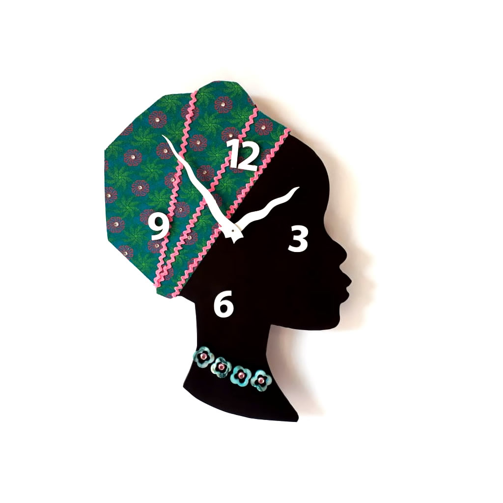 Clock - Wall Mounted - Turquoise / Pink Rick Rack