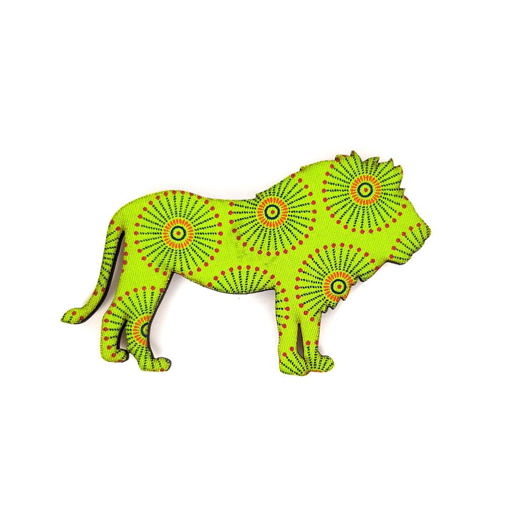 Fridge Magnet - Lion - Lime Green