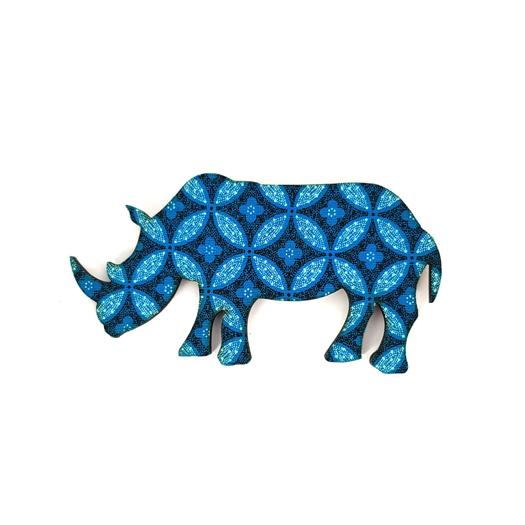 Fridge Magnet - Rhinoceros - Blue