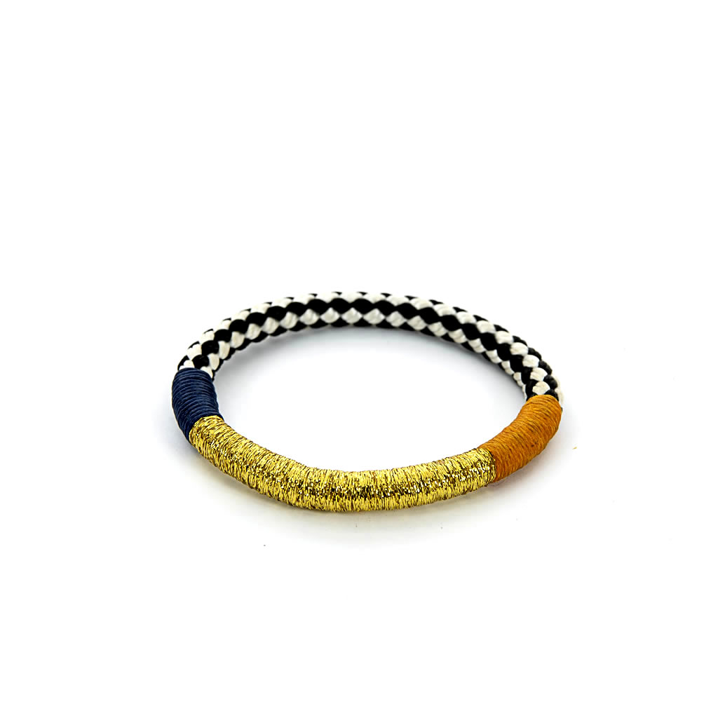 Bracelet - African - Black & White Rope - Gold, Yellow, Blue