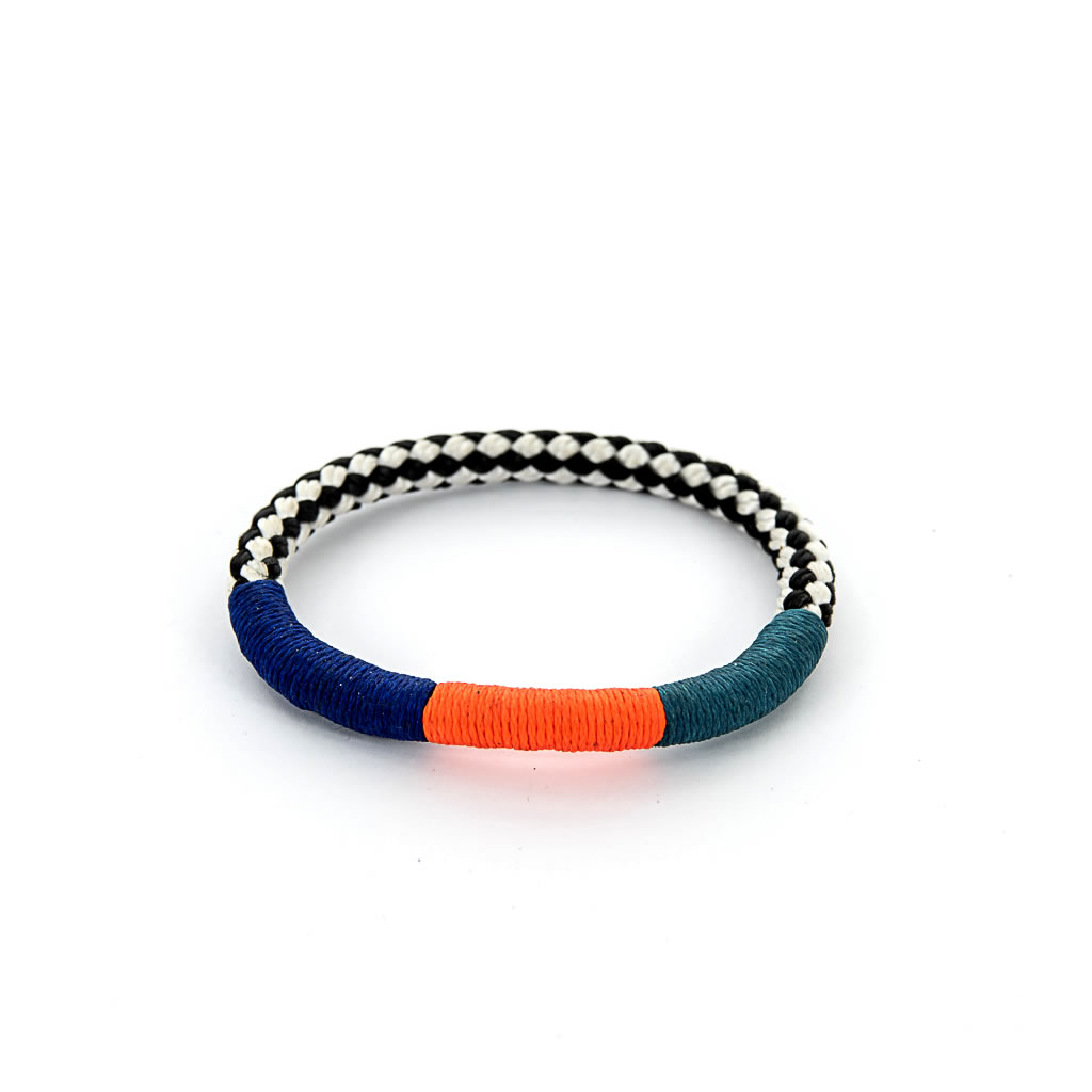 Bracelet - African - Black & White Rope - Orange, Blue, Turquoise