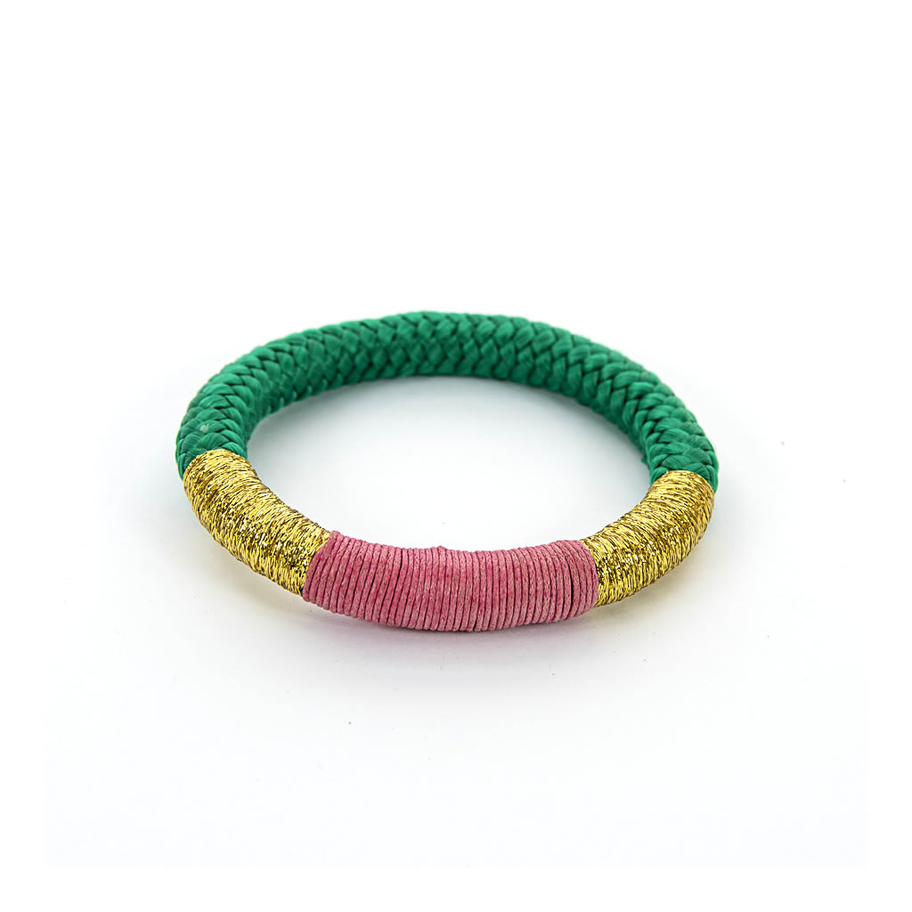 Bracelet - African - Green Rope - Pink & Gold