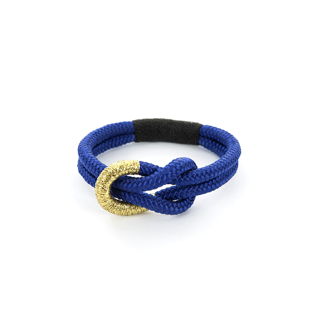 Bracelet - Knotted Blue Rope - Gold Thread