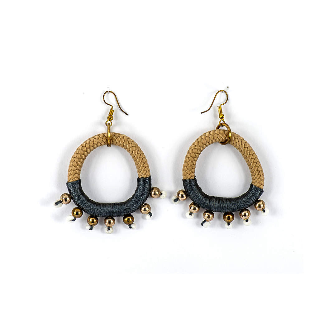 Earrings - Umoja - Beige Rope - Charcoal Thread