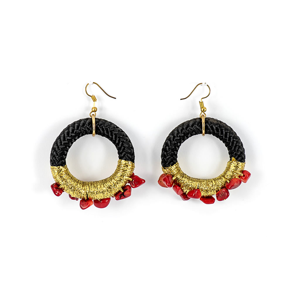 Earrings - Wongani - Black Rope - Red Crystals & Gold Thread