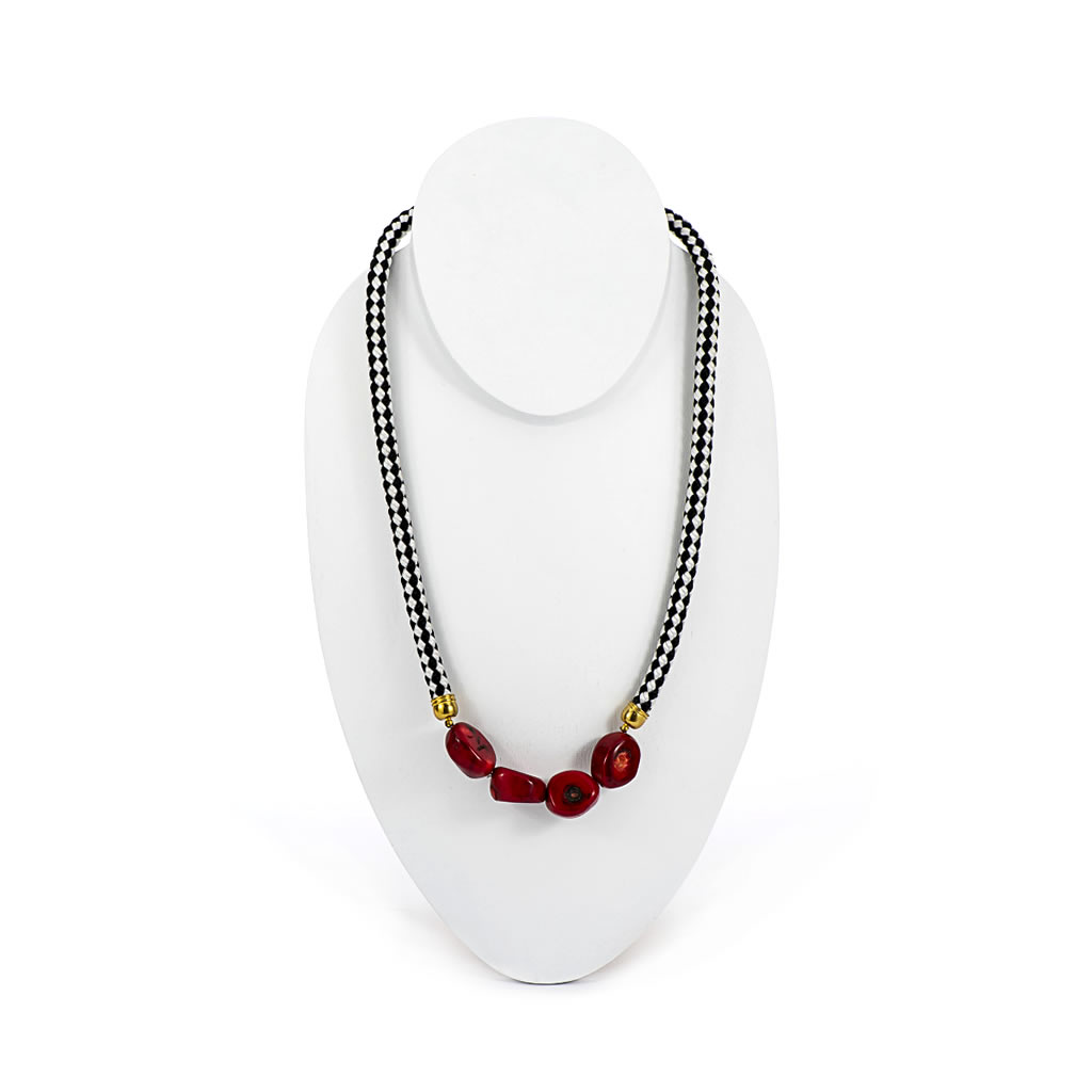 Necklace - Coral - Black & White Rope