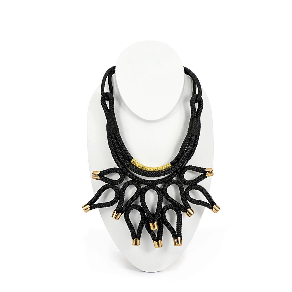 Necklace - Kitoko - Black Rope - Gold