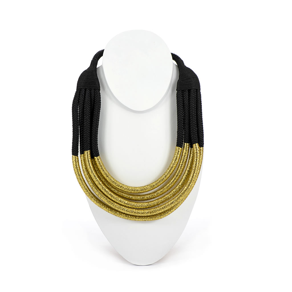 Necklace - Temmy Black Rope - Gold Thread