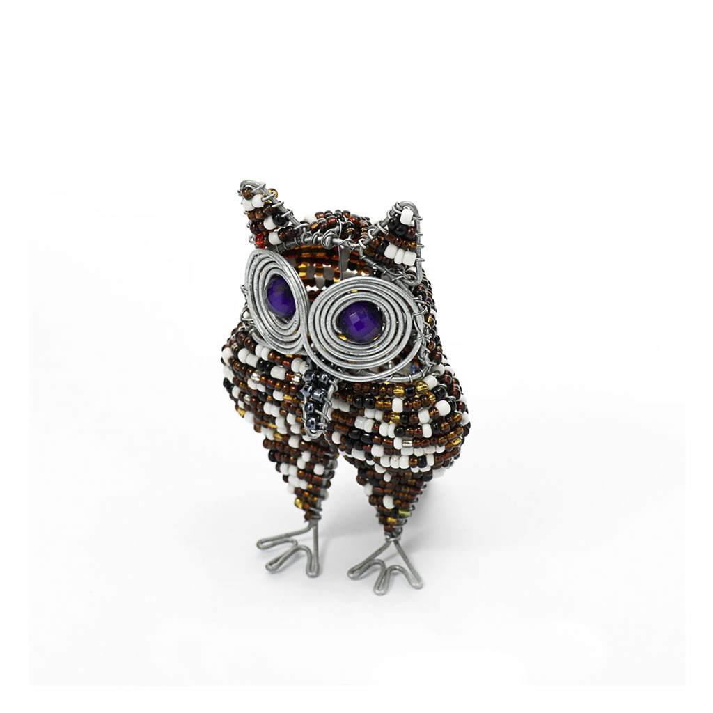 Owl - Bead & Wire - Small Brown