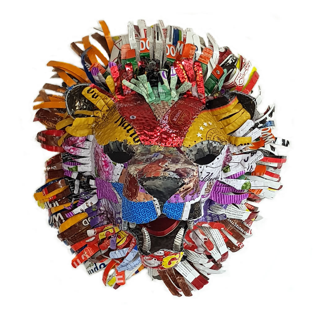 Lion - Trophy Head - Colourful Patchwork