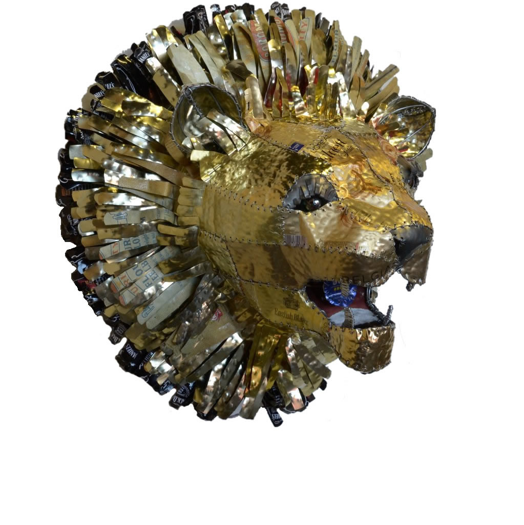 Lion - Recycled Tin - Trophy Head