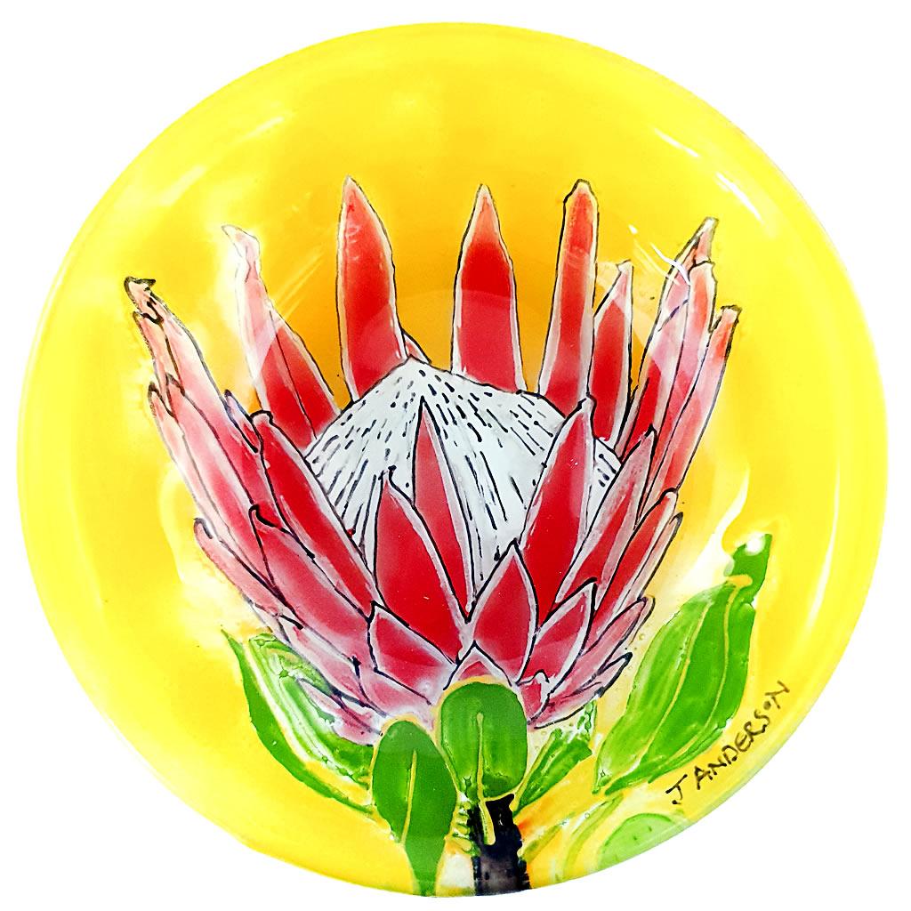 Glass Bowl - Protea on Yellow
