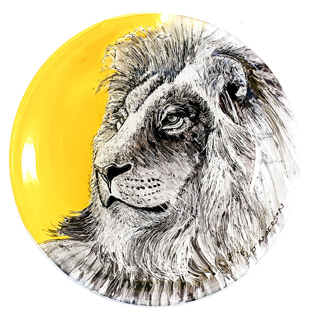 Glass Bowl - Lion on Yellow