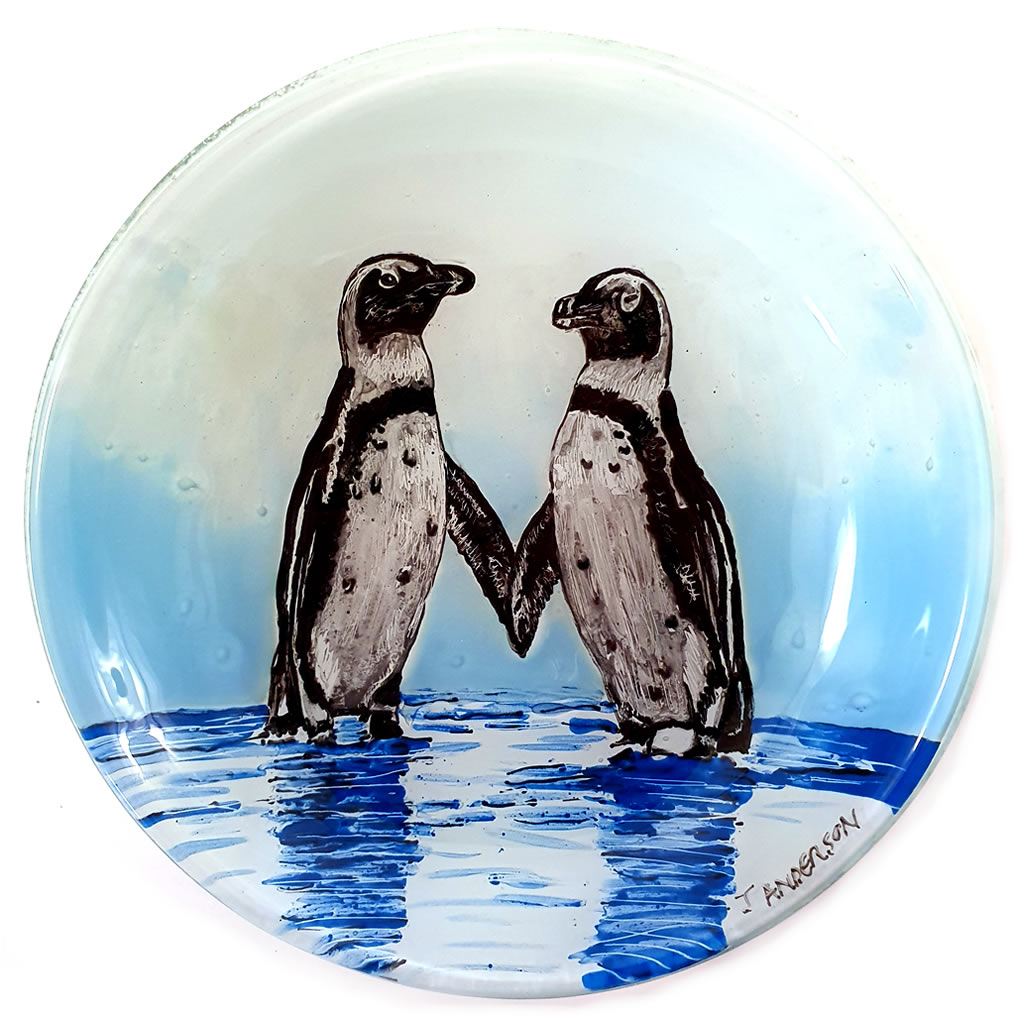 Glass Bowl - Penguins in Pool