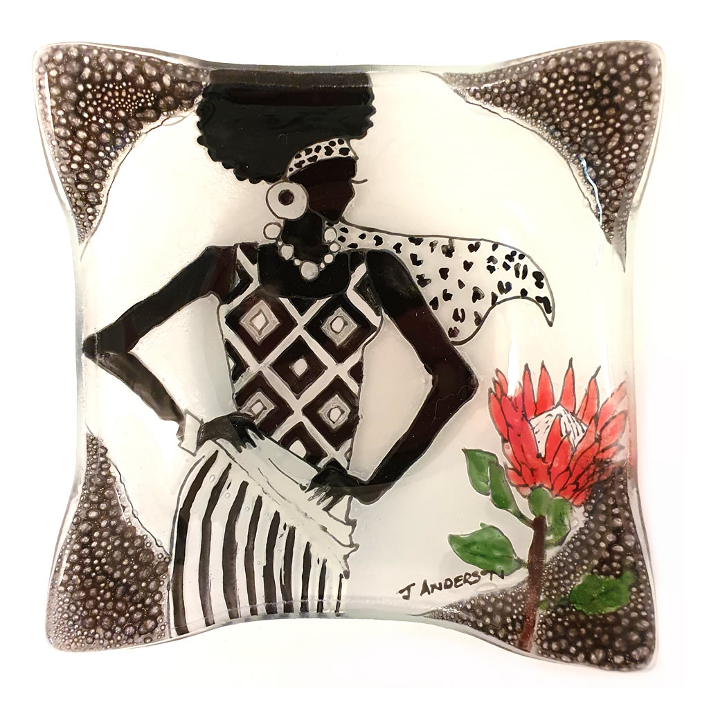 Glass Bowl - Square - Lady with Protea