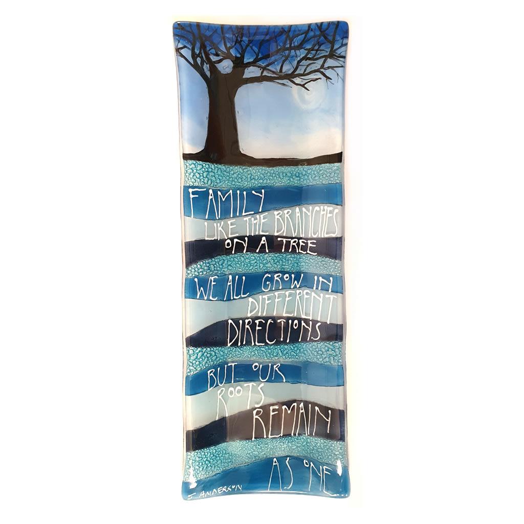 Glass Platter - Family Tree - Blue