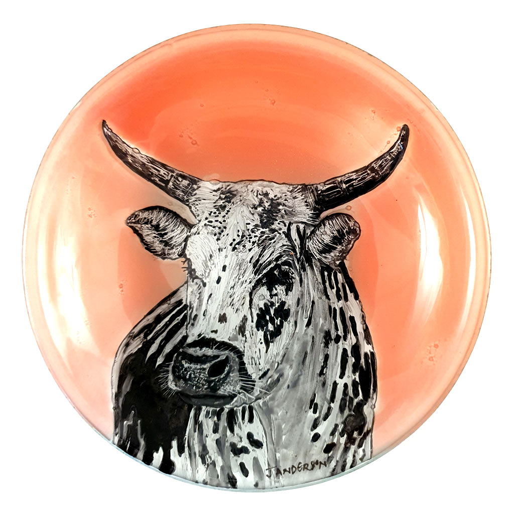 Glass Bowl - Nguni Cow on Pink