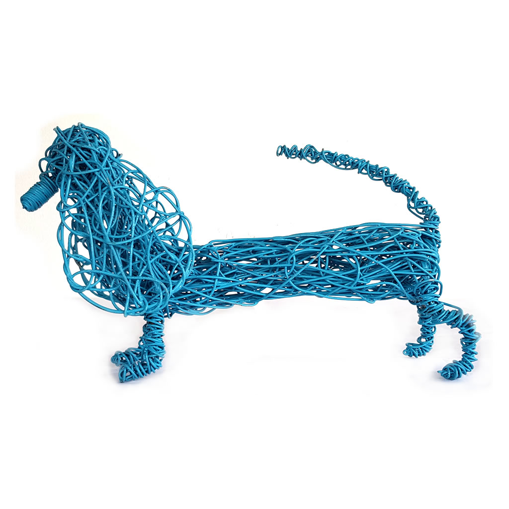 Dog - Dachshund Sculpture in Blue - Small