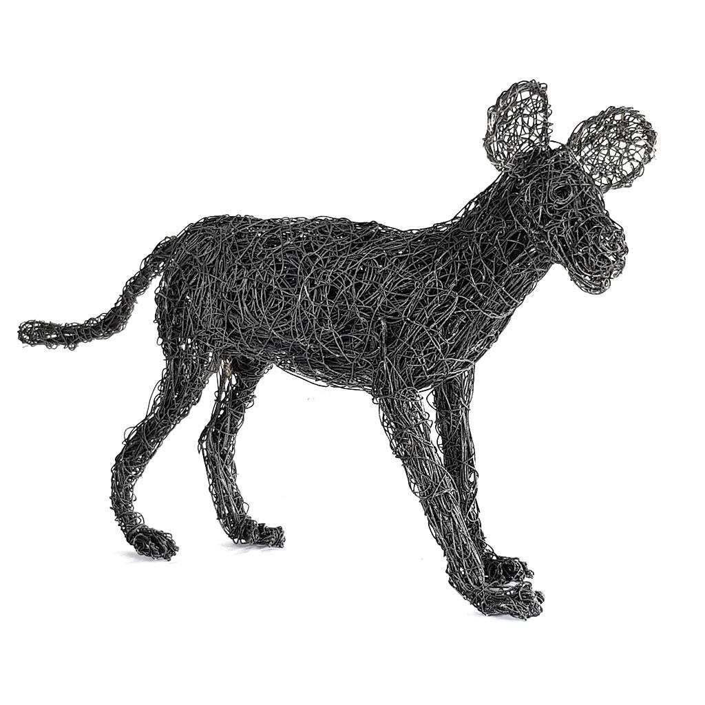 Wild Dog - Freestanding Sculpture in Wire
