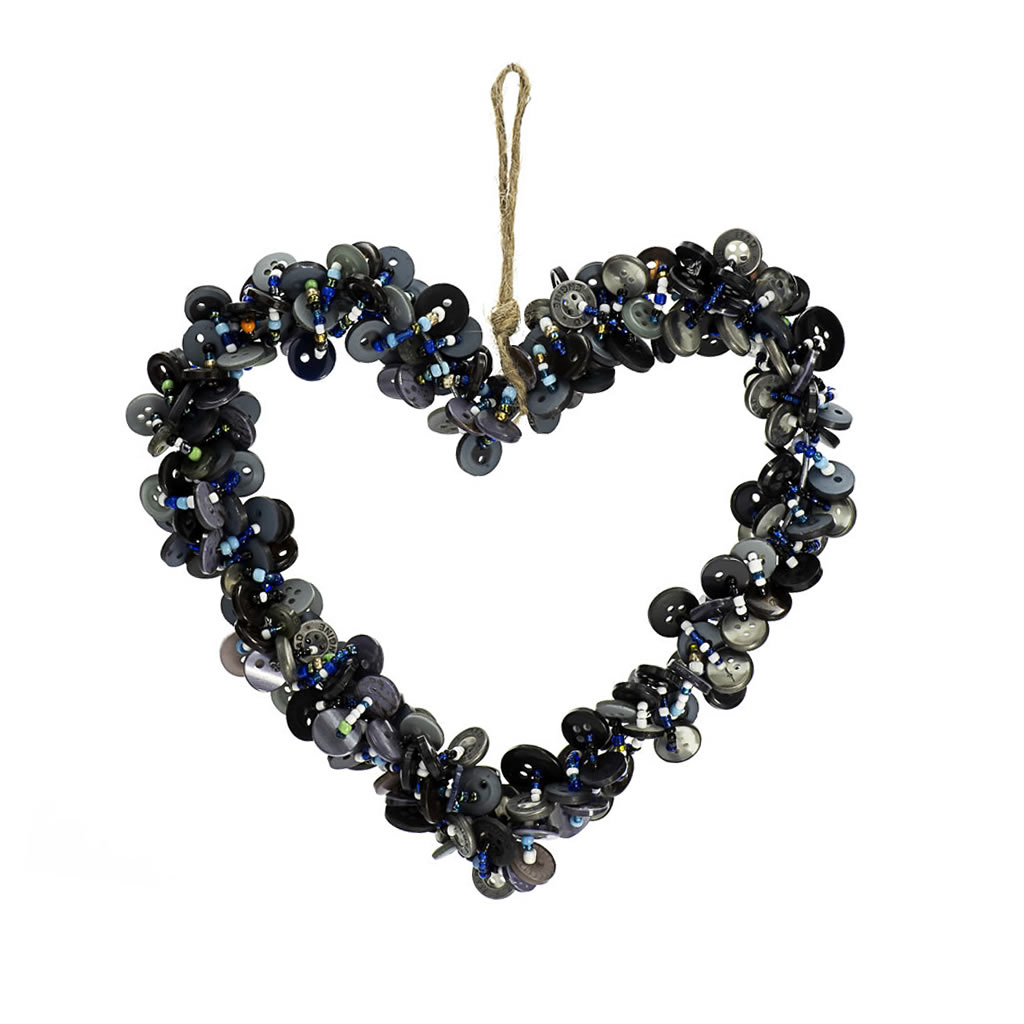 Heart Decoration - Buttons - Black