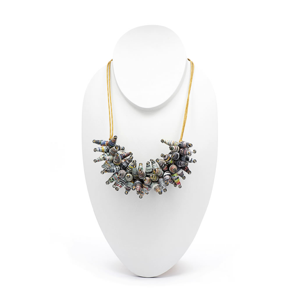 Necklace - Recycled Paper Bead Cluster