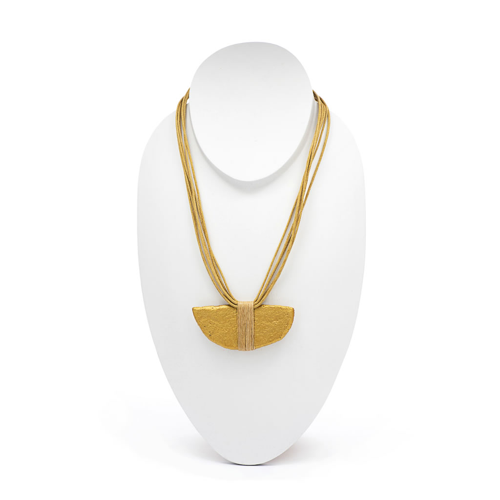 Necklace - Recycled Wood - Half Moon - Gold