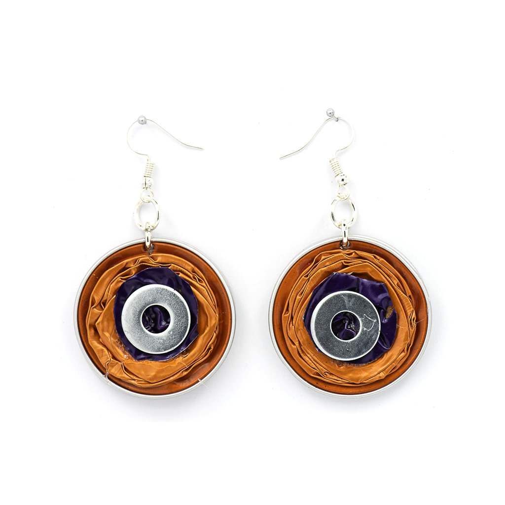 Earrings - Recycled Coffee Pods - Circles - Copper