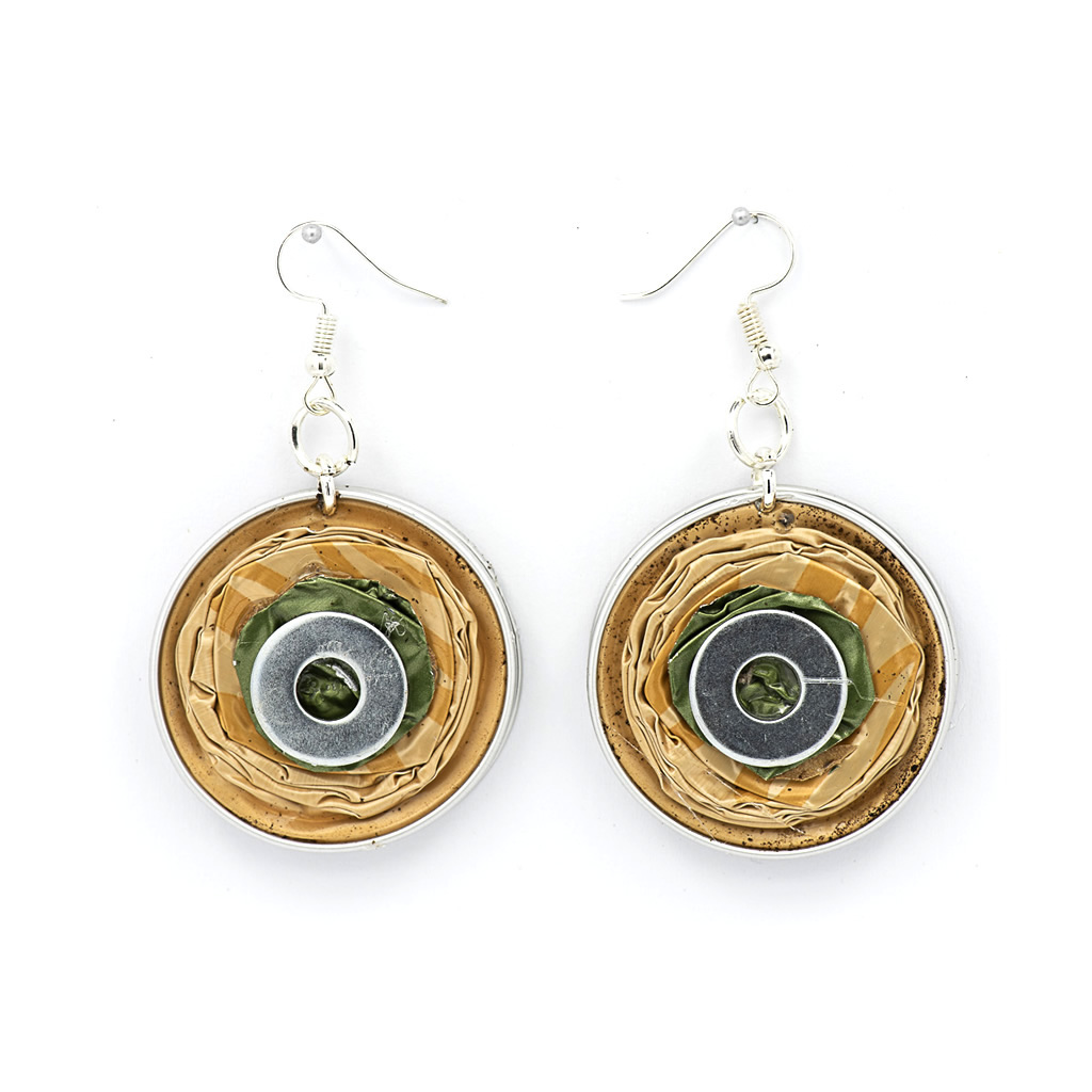 Earrings - Recycled Coffee Pods - Circles - Gold
