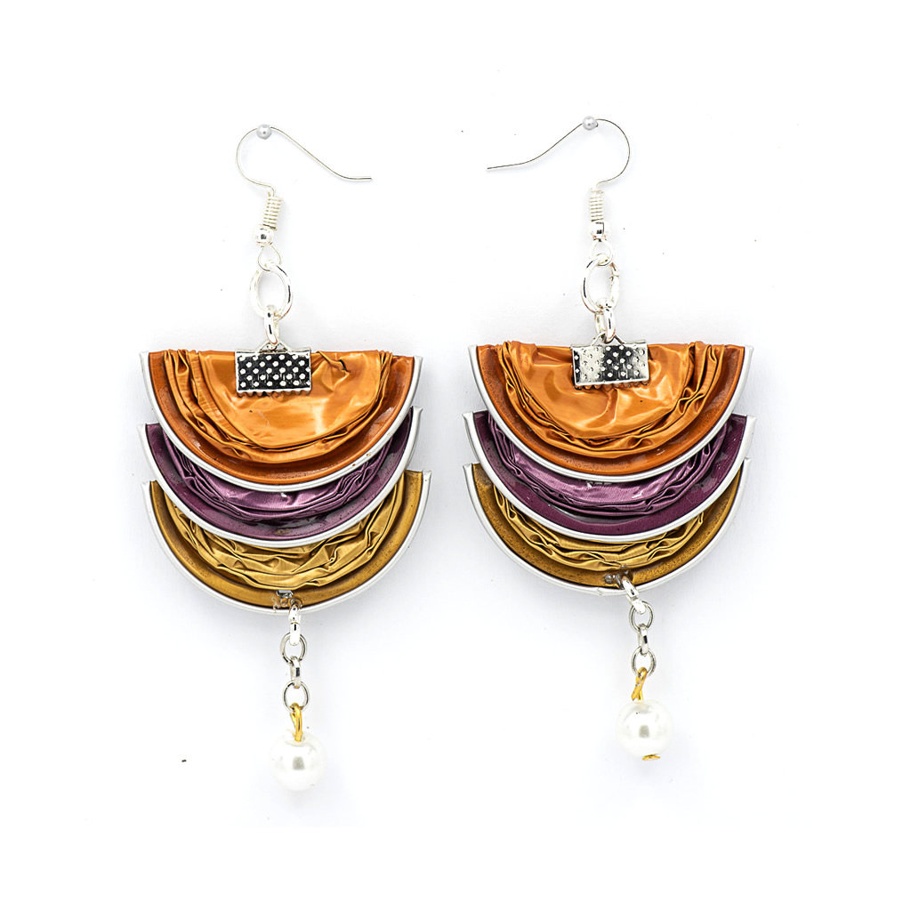 Earrings - Recycled Coffee Pods - Folded with Pearl - Brights