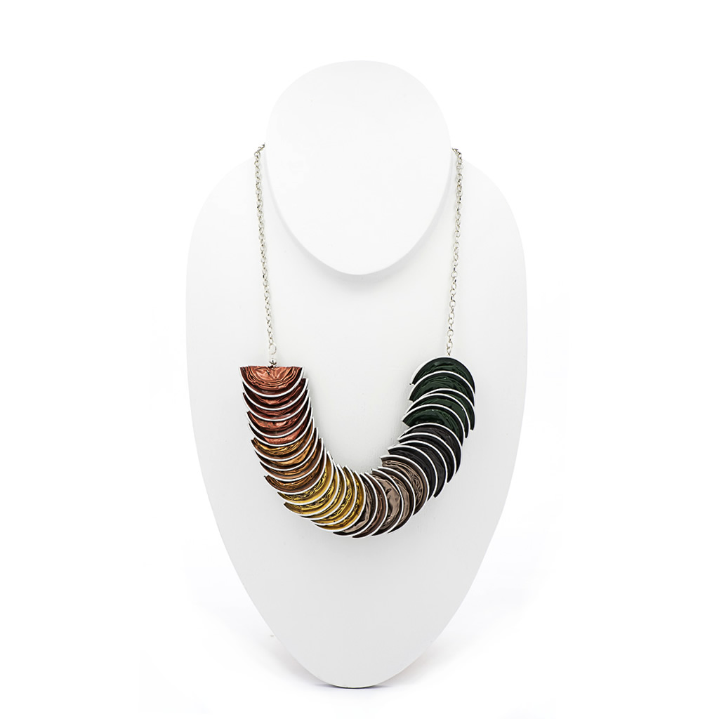 Necklace - Recycled Coffee Pods - Folded - Green Gold Red