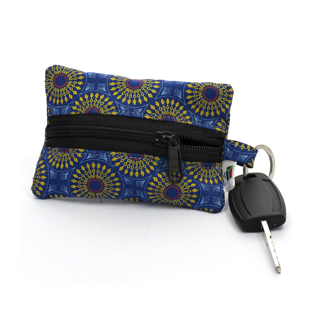 Keyring Purse - Shweshwe - Blue/Yellow