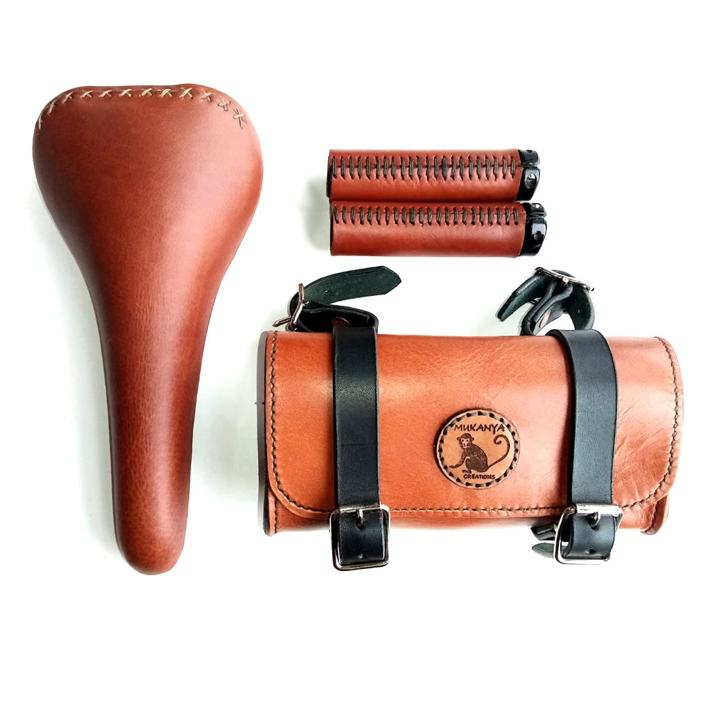 Leather Bicycle Saddle & Saddlebag Set