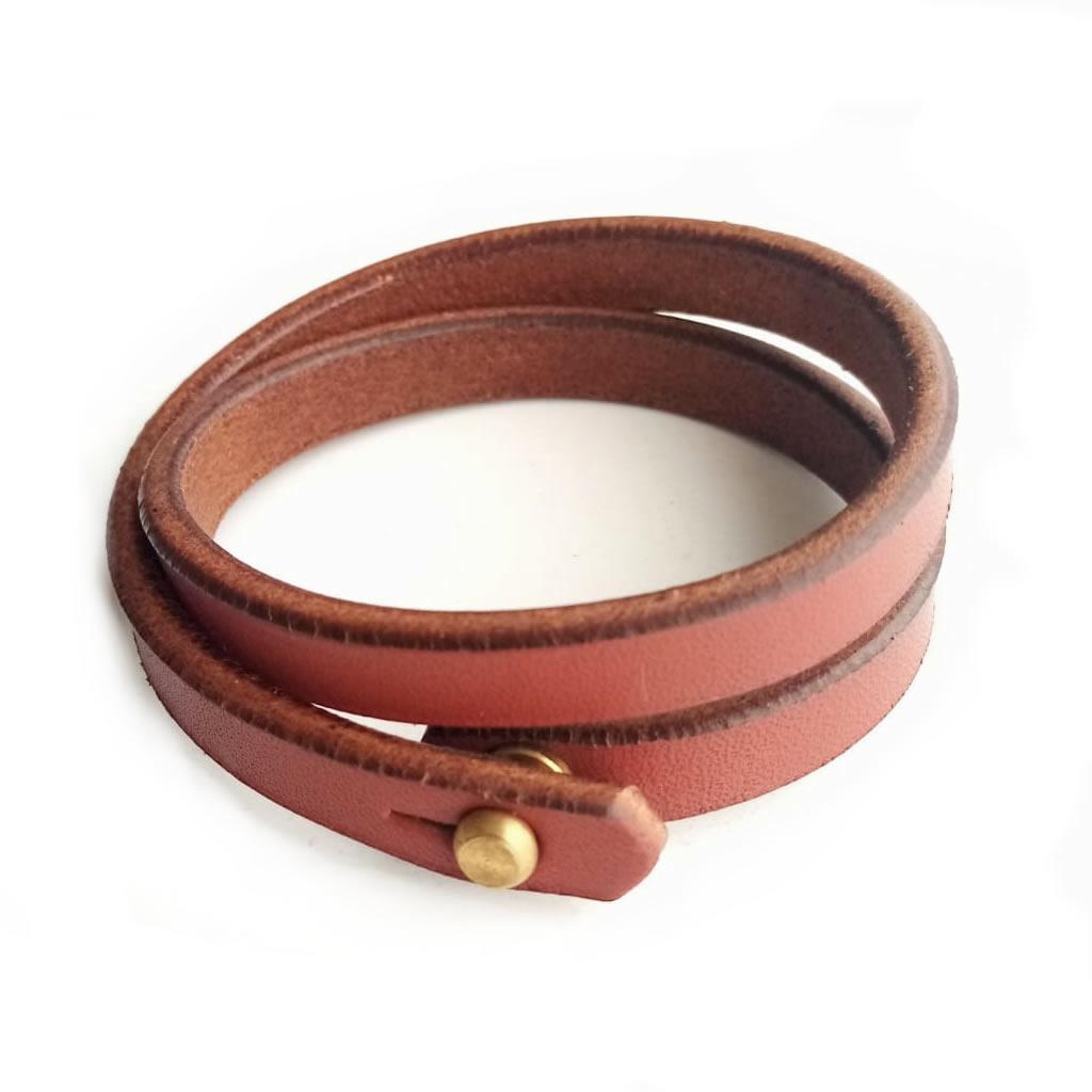Leather (Double) Holster Bracelet - Chestnut