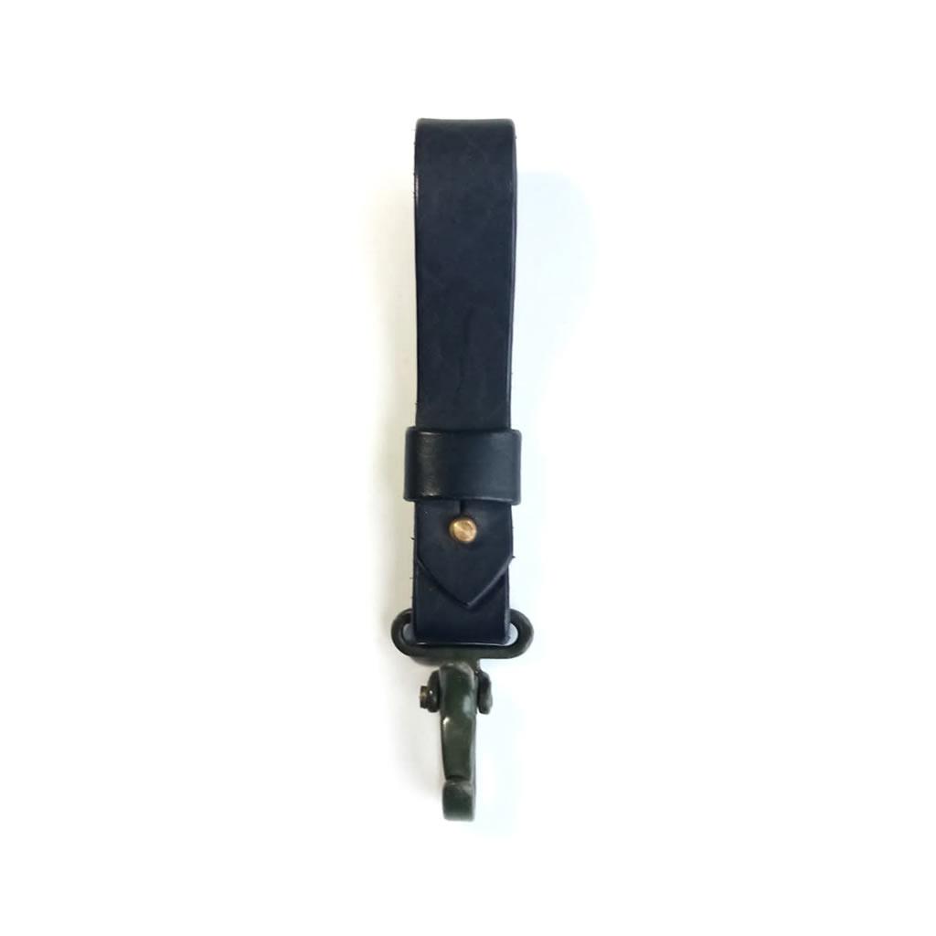 Leather Keyring - Army Clip Black