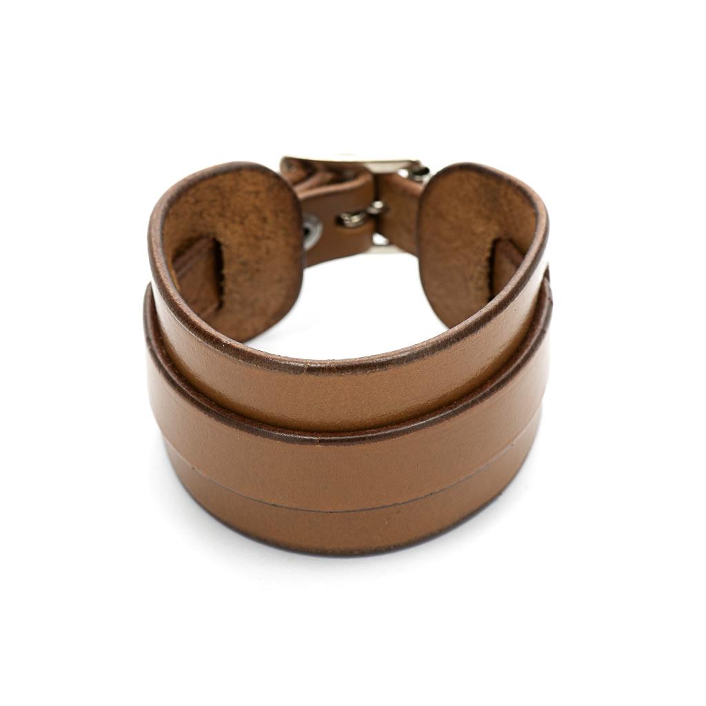 Leather Cuff Bracelet - Chestnut