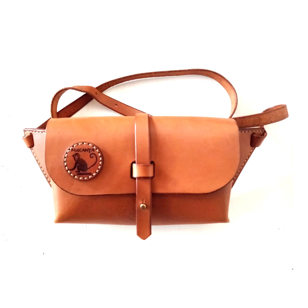 Leather Moon Bag - Chestnut - Small