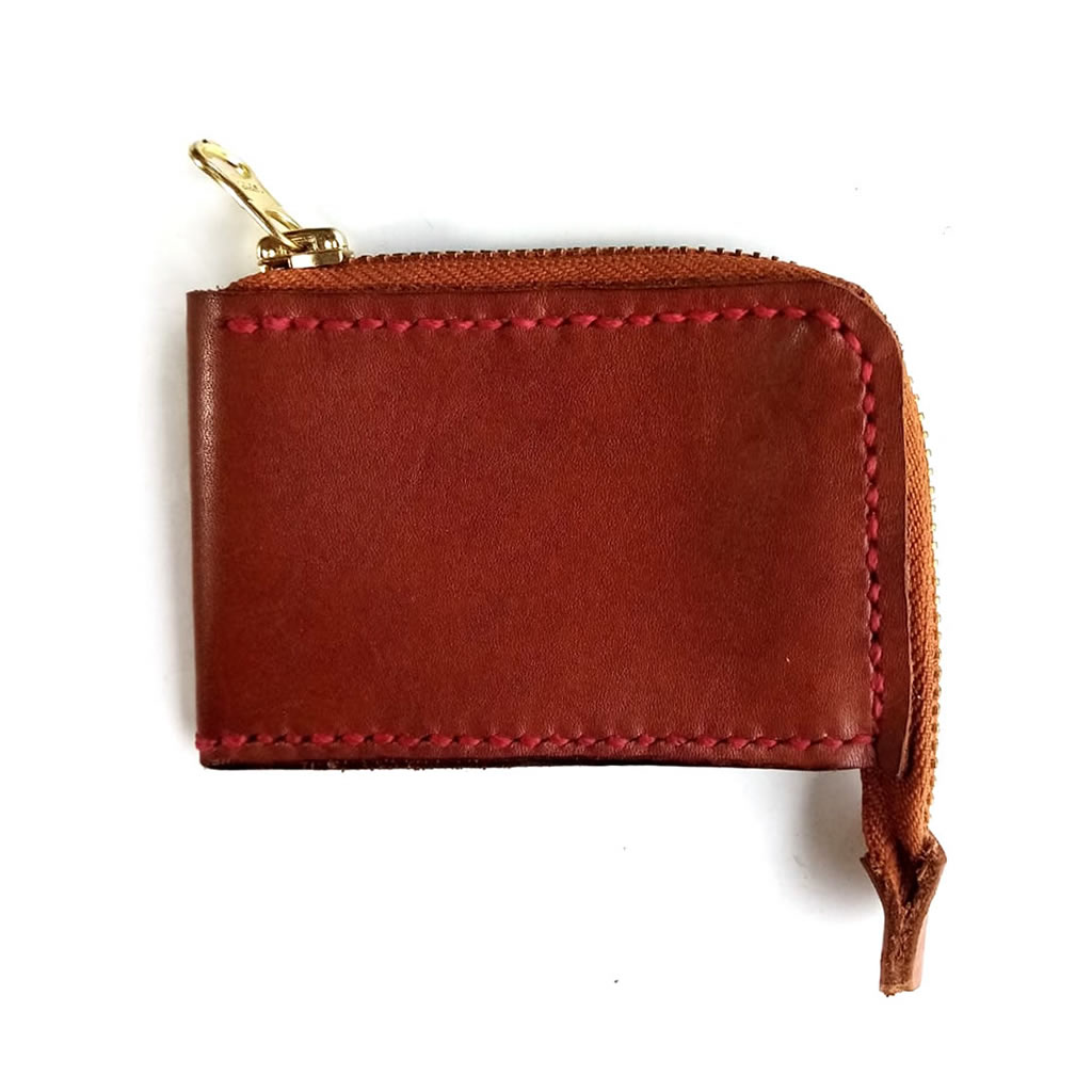 Leather Wallet with Zipper - Chestnut